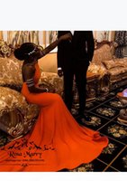 Sexy Backless Orange Mermaid Prom Dresses 2K19 Plus Size Black Girls Couple Fashion 2019 Long Satin Formal Graduation Evening Party Gowns