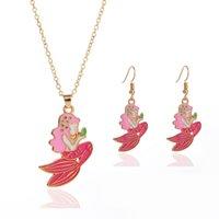 Bambini regalo sirena principessa pendente catena collana orecchino set estate moda