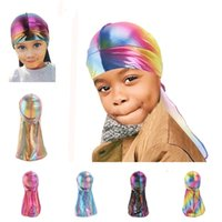 3-8Y Kids Holographic Durag Children's Laser Color Doo Rag Hats Silky Wave Cap Pirate Hat Party Beach Caps Visor Gifts G12207