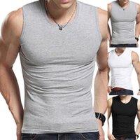 Men's Tank Tops Men Solid Color Sleeveless Round Neck Vest Slim Fitness Fit Top Undershirt