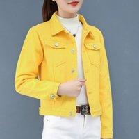 Women's Jackets 8 Colors Pink Yellow Blue Red Black Cropped Jean Jacket Women 2021 Spring Summer Fall Crop Short Denim Coat C67
