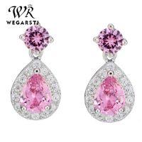 Pendientes de piedra de cristal de cristal de cristal de lujo moda 925 plata rosa pera corte vintage doble gota para wome stud