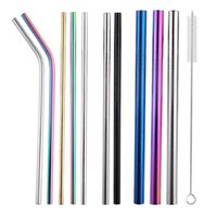 Drinking Straws 2Pcs Reusable Golden Silver Colored Metal 304 Stainless Steel Beverage Kitchen Bar Accessories