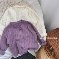 Vêtements pour enfants coréens Filles Spring and Summer Pull Mince Baby Hollow Hollow Cardigan Cardigan Pull