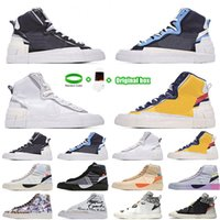 [Bracelet + Socks + Original Box] Sacai X Nike Blazer Mid Deconstructed Double Hook Catwalk Co-branded Trailblazer High-Top Casual Shoes Off White x Blazer Mid OW Sneakers
