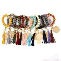 Cross-border personality bracelet craft carved wood beads keychain blank disc tassel key ring pendant multi-color optional factory