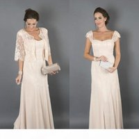 Graceful Mother Of The Bride Dresses With Lace Jacket Suits Cap Sleeves Cheap Chiffon Long Wedding Guest Prom Party Dress Plus Size