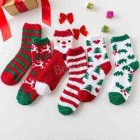 Рождество Санта-Клаус носки женские напечатанные лось снеговика рождественские носки плюшевые зимние осенние рождественские чулки мультфильм полосатые носки BH1688 TQQ