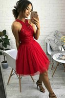 Lace Tulle Short Homecoming Dresses with Beaded Zipper Sexy Backless Girls' Graduation Gowns A Line Cocktail Party Prom Vestidos