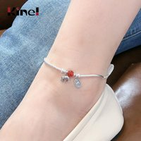 KINEL ANKLET 100% 925 Echte Sterling Silber Mode Frauen Schmuck Armband auf dem Bein Romantische Geburtstagsfeier Feine Anklets