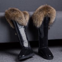 Women's Winter Snow Warm Fur Lining Real Fur Trim Suede Leather Knee High Boots Thick 12Colors Flats Shoes New A1315