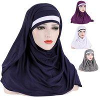 Ethnic Clothing Solid Color Hair Wrap Scarf Forehead Match Jersey Hijabs Muslim Headband Women Turban Cap Headscarf 2021 2pcs Set
