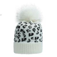 Party Hats Ear Warm Mink Fox Fur Ball Thick Women Girl Fall Winter Skullies Beanies Hat Cap Leopard Elastic Fashion Accessories BWE9765