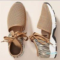 2021 Plus Size 43 Women's Shoes Summer New Fashion Flat-bottomed Hollow Sports Sandals Women Leopard Print Mesh Breathe Sneakers
