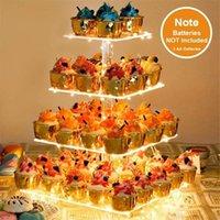 4mm carrinho de bolo acrílico de 4 mm com luzes de cordas 4 titular de exposição de cupcake para festa de aniversário decoração de casamento suprimentos outros Bakeware