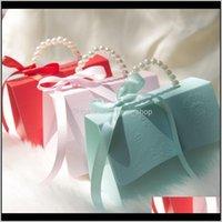 Cadeau Cadeau Couleur Solide Couleurs Boîtes de bonbons avec Ruban Portable Petite boîte à papier Rouge Marry Fournitures Européenne Style 1 69KC J2 Evlov Edtyi