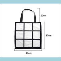 Storage Housekee Organization Home & Gardenstorage Sublimation White Blank Diy 9 Grid Peach Skin Veet Tote Bag Single Sides Heat Transfer Sh