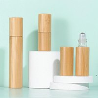 3ml 5ml 10ml bamboo Essential Oil Roller-ball Bottle Clear Glass Roll On Perfume Bottles Stainless Steel Rollers Ball NHB6649