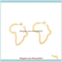 Jewelrygs African Stud Earing Gold Africa Map Earrings For Women Hollow Ear Ring Hip Hop Ethnic Cute Gifts Fashion Jewelry Brincos Drop Deli