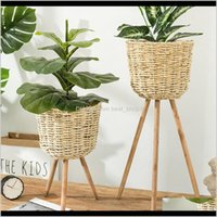 Planters Pots Patio Lawn Home Drop Delivery 2021 Decoration Floor Vase Stand Wickerwork Flower Holder Display Potted Rack Rustic Decor Plant