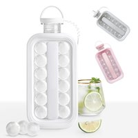 Ice Ball Mold 2-in-1 Ice Maker Tool cold Water Bottle Mould cup freeze folding silicone with Leakproof Cap kettle For Bar Home Kitchen