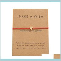 Jewelry Drop Delivery 2021 Arrival Make A Wish Card Bracelets Fashion Red Rope Handmade Woven Gold Plated Star Charm Bracelet For Women Mens