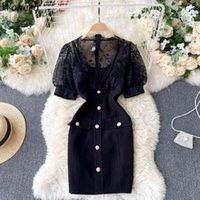 BodyCon платье шикарное кружевное пэчворк мини для женщин V-образным вырезом слоеного рукава см. Через Vestidos Sexy Black Slim халат 210422
