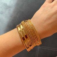 Charm Bracelets 14pcs Punk Gold Color For Women Fashion Alloy Metal Unfading Bangle Bohemian Jewelry Accessories Wholesale