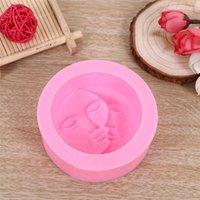 Pink Cake Mold Round Shape Sun Moon Faces Silicone Mold DIY Fondant Chocolate Soap Cake Decorating Tools Kithen dff8162