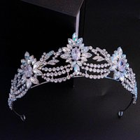 Zirconia Crystal Tiaras Crowns Pageant Prom Diadem For Brides Evening Dress Headpieces Wedding Accessories Bridal Hair Jewelry Clips & Barre