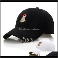 القبعات الكرة، والأوشحة قفازات الأزياء ولديس قطرة التسليم 2021 أسود الكبار فنجر الحب قابل للتعديل الحديد حلقة البيسبول قبعات snapback كاب القاع