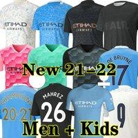 Kun Aguero 20 21 Manchester City Soccer Jersey GK 2020 2021 Homme Sterling Football Shirt Manchester de Bruyne Gesus Bernardo Mahrezez Rodrigo Hommes + Enfants
