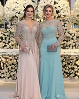Luxurious Bead Crystal Sequins Mother of the Bride Dresses Long Sleeves V Neck Pink Plus Size Formal Party Prom Gowns DHL