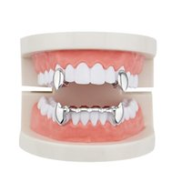 Hip Hop Smooth Grillz Real Gold Plated Dental Grills Vampire Tiger Teeth Rappers Body Jewelry Four Colors Golden Sil sqcZLG luckyhat