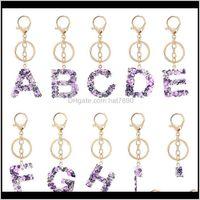 الحلي essorieskimter إلكتروني أزياء a-z سلسلة المفاتيح الإبداعية الملونة 26 الإنجليزية الأبجدية كيرينغ حقيبة يد keyfobs مجوهرات ولديز ل wo