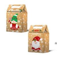 أكياس هدية عيد الميلاد سانتا أكياس كرافت ورقة حقيبة أطفال حزب تفضل مربع الإبداعية الأطراف لصالح لوازم الديكور HWE9581