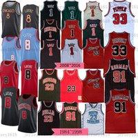 Erkekler Retro Klasik 23 MJ Jersey Zach 8 Lavine Pippen Formalar 91 Dennis Rodman Basketbol Formaları 2020/21 Yeni Formalar Kırmızı Beyaz Gençlik S-3XL