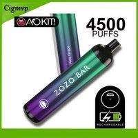 Аутентичные Aokit Zozo Bar Одноразовые E Cigarettes 4500Уфуфты Vape Pen 15.8ML Префилированный 2200 мАч Перезаряжаемый аккумулятор