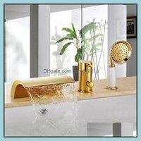 Grifos de la bañera Grifos, duchas como Home Garden SHIP GOLD PVD Color 3 piezas Evite la cascada de baño Baño de baño de la bañera romana Faucet MI