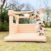 2021 trend eye-catching inflatable wedding bouncy castle white bouncer bounce house for sale with air blower