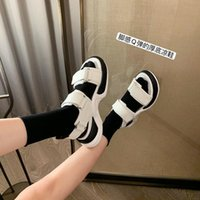 Sandals 2021Female Buckle Platform Leather Casual Summer Slippers Chunky Women 5cm Wedge High Heels Shoes