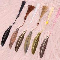 Bookmark Vintage Métal Feather Signets en forme de plume avec glands et cadeaux de papeterie en laiton perlé pour adultes enfants