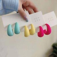 Hoop & Huggie Colorful Korean Acrylic Geometric C-shaped Earrings Women Vintage Resin Round Circle Hoops Earring 2022 Fashion Jewelry