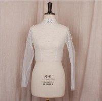 Wraps & Jackets Beaded White Long Sleeve Jacket Bolero Shrug Wrap High Neck Stole For Wedding Bridal Quality