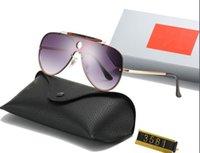 Moda de moda adumbral Gafas de sol conectadas Lente con conexión Big Tamaño Medio marco Diseño Máscara Gafas al aire libre Gafas de sol de alta calidad con caja WX40