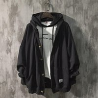 Men's Jackets Big, thin spring men's jacket, couple of solid colors, loose hoodie fall, plain cardigan with hat 22FK