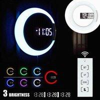 Horloges murales MEIGAR 3D LED Horloge numérique 7 couleurs Température Température Decoration de design moderne Maison Salon Salon Decor