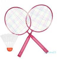 Enfants enfants Badminton raquette raquette shuttlecock set alliage badminton raquette pratique entraînement raquette de poids léger avec des balles