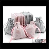 Bolsas de exhibición Drop Entrega 2021 Veet Joyas Bolsas de regalo con cordón DString A prueba de polvo Joyería de la prueba de almacenamiento cosmético Crafts Bolsas de embalaje FO