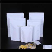 Bulk Storage Aluminizing Food Zipper Bag White Pouch Grip Stand Lock Seal Foil Kraft Paper Grade Resealable Aluminium Zip Patte Printa Dh2C9